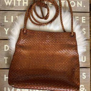 Talbots VTG woven leather crossbody cognac color